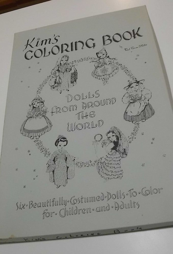 Vintage Kims Coloring Book Six Dolls from Around World Complete Red ...
