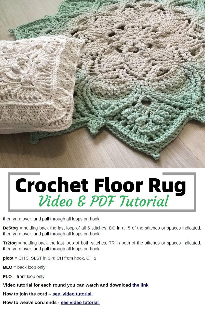 Crochet floor rug - Video & PDF tutorials. See all carpet patterns 👆
