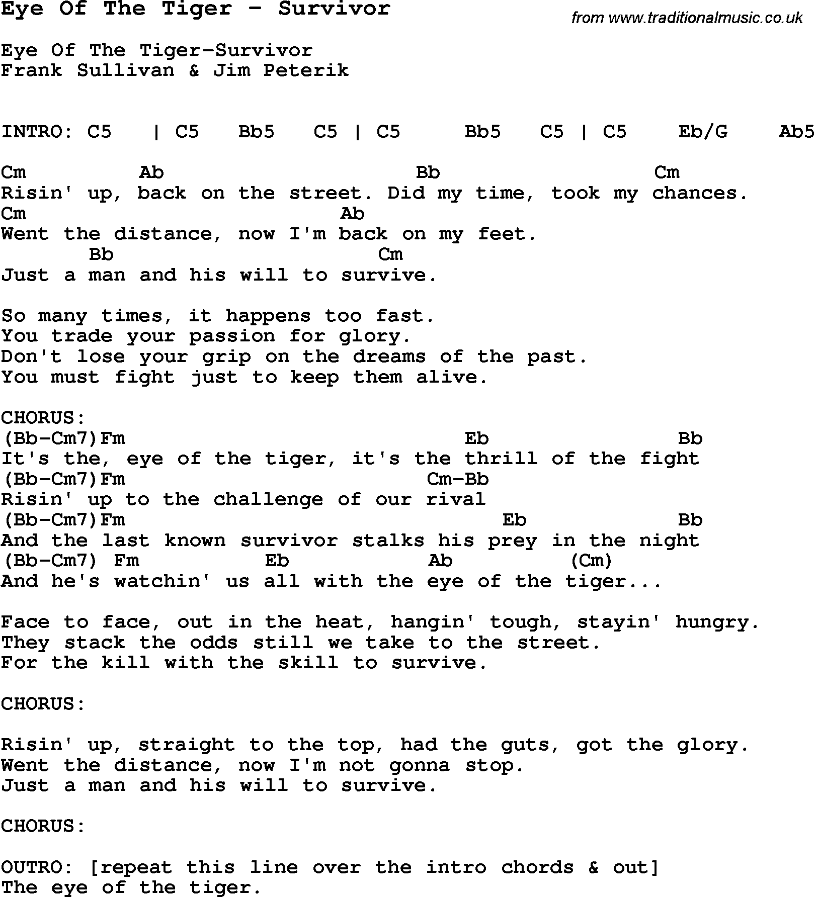 Song Eye Of The Tiger By Survivor With Lyrics For Vocal Performance