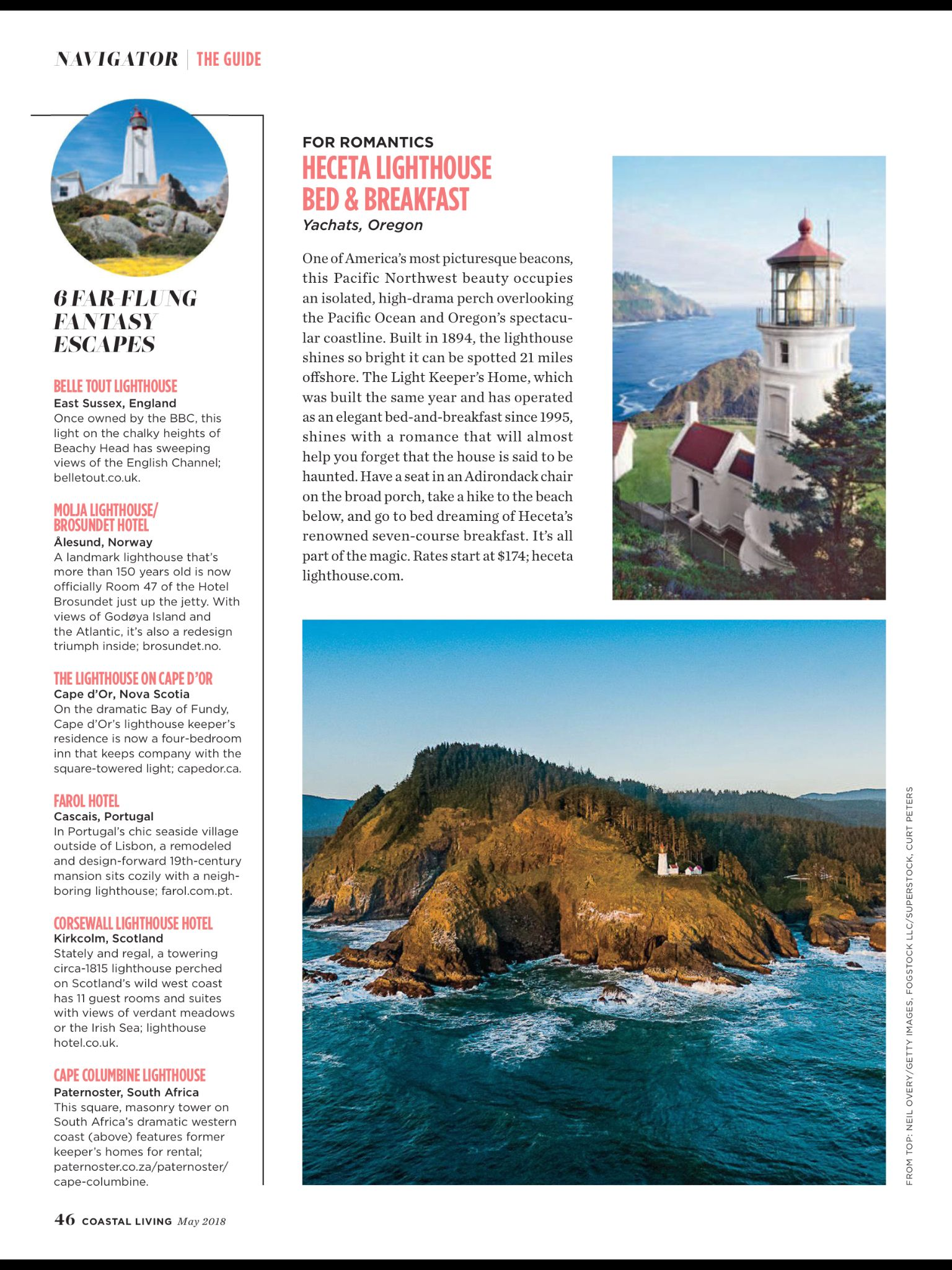 """""""The Best Lighthouse Getaways in America"""" from Coastal"""