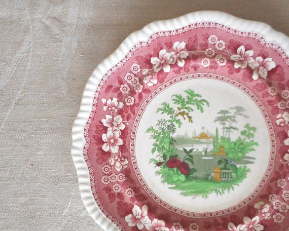 Antique Copeland Spode Dinner Plate Merriemount 1927 Pink Red Transferware Polychrome Semi Porcelain Dinnerware England Stoneware & Copeland Spode Dinner Plate Merriemount 1927 Pink Red Transferware ...