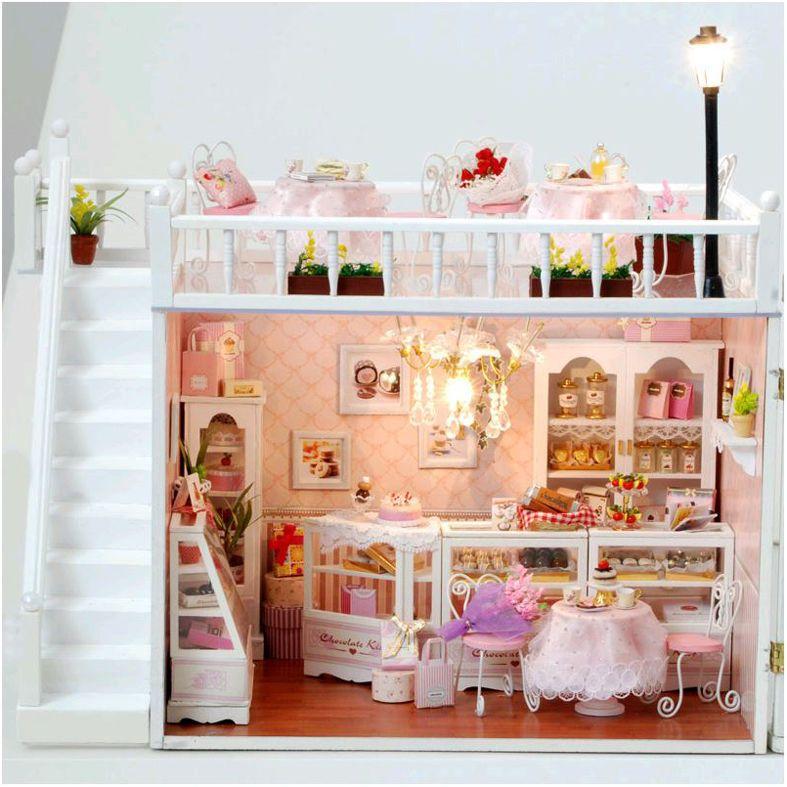 5 St/ück Puppenhaus M/öbel Spielzeug Set 1:12 Miniatur Puppenhaus Kit Esstisch Stuhl Holz 3D M/öbel Spielzeug