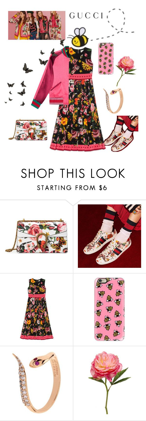 """""""Presenting the Gucci Garden Exclusive Collection: Contest Entry"""" by im-karla-with-a-k ❤ liked on Polyvore featuring Gucci, Casetify, Disney, Bee Goddess and gucci"""