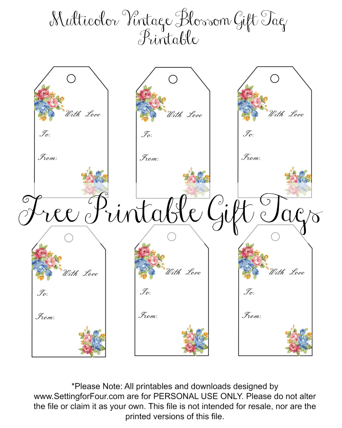 Vintage blossom free printable gift tags anniversary gifts gift vintage blossom free printable gift tags negle Gallery