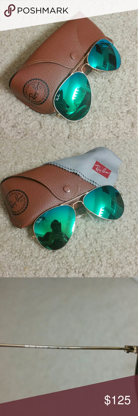 Ray-Ban Green Flash Aviator Model number RB3025 112/19 58-14. Like brand new, only worn a handful of times. Includes all items shown in picture Ray-Ban Accessories Sunglasses