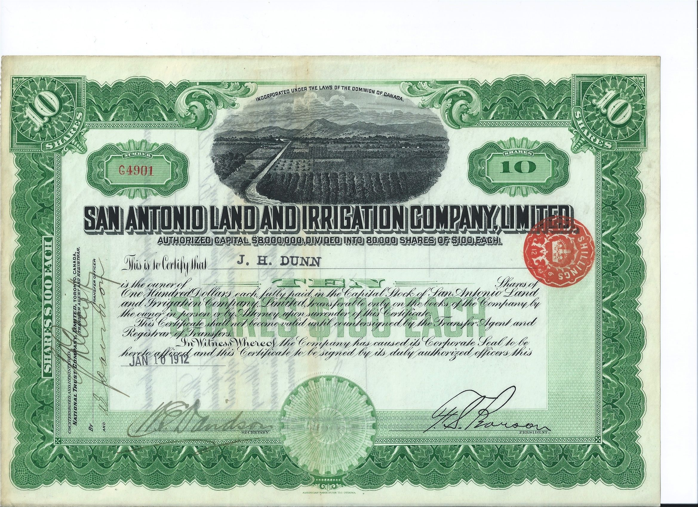 San Antonio Land Irrigation Stock Certificate 1912 Handsigned By