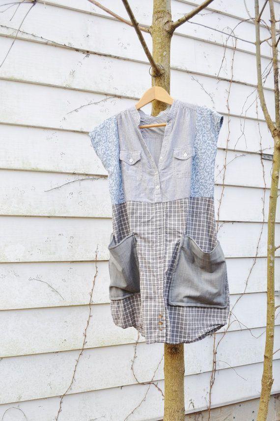 Tunic Dress in Slate/ Huipil Inspired Artisan Smock Dress/Upcycled ...