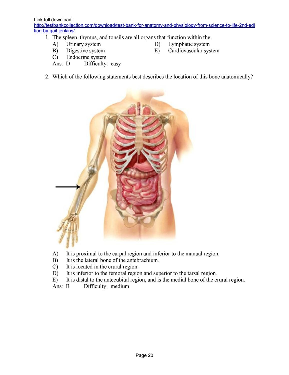 Test bank for anatomy and physiology from science to life 2nd ...