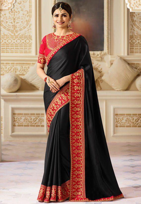 9c41cb72a Prachi Desai Black Saree | Party Wear Sarees | Satin saree, Black ...