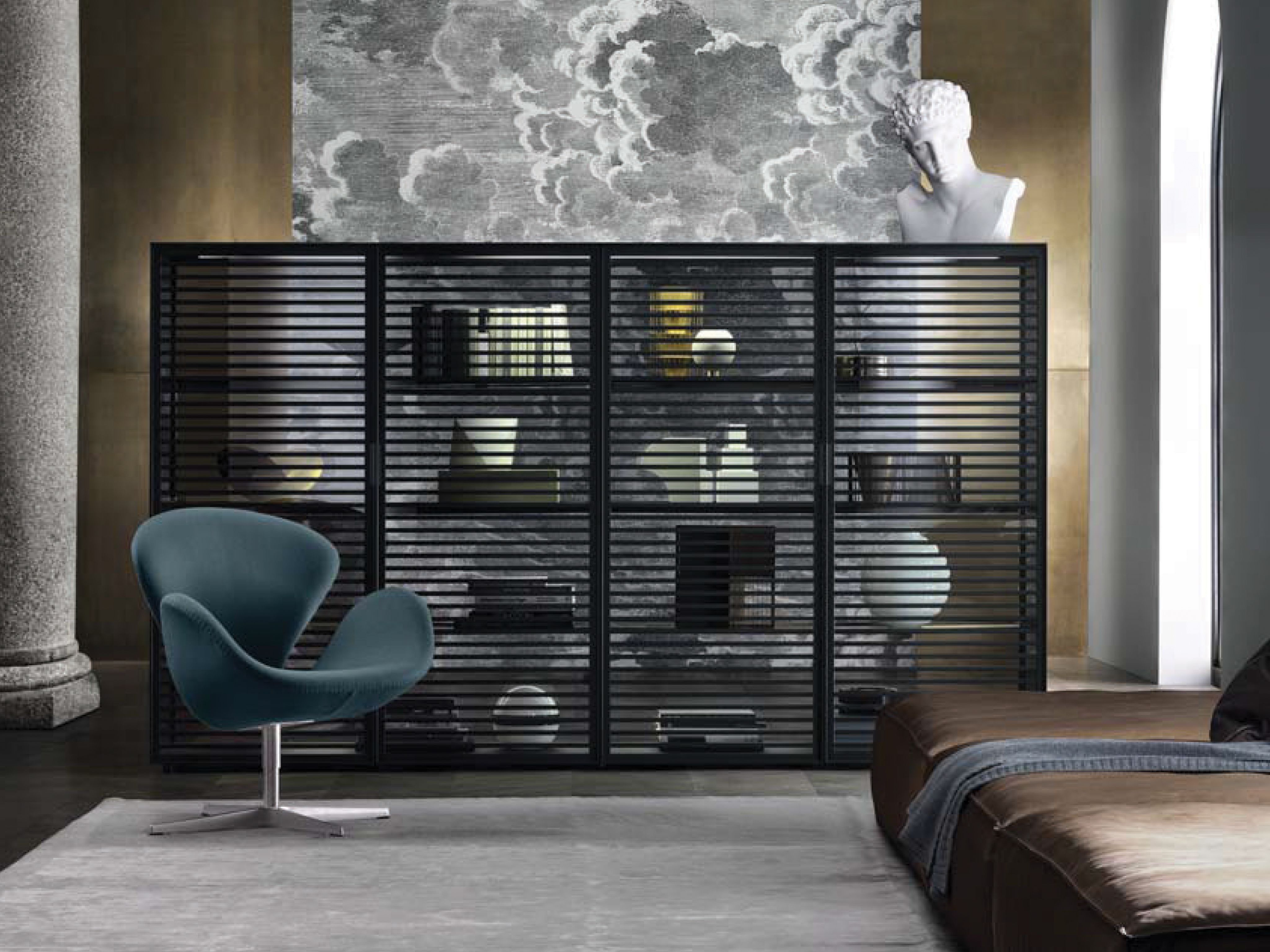 Rimadesio Alambra Display Cabinet In Aluminium Design Furniture Italian Interiors Contemporary Cabinets