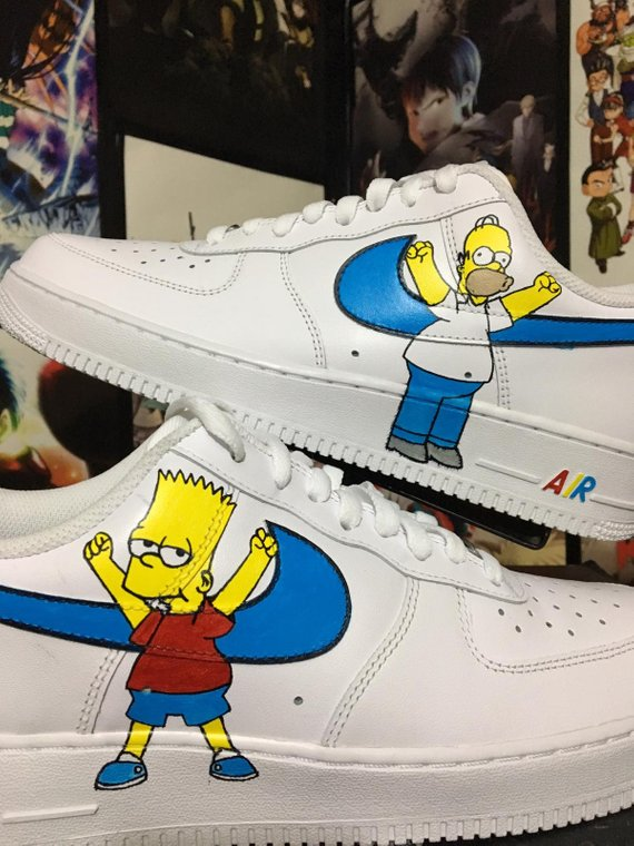 f911d521aa1ba Custom Nike Air Force Simpsons , homer and bart ,custom sneakers ...