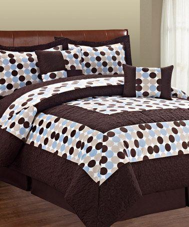 Look what I found on #zulily! Chocolate & Blue Big Dot Comforter Set #zulilyfinds