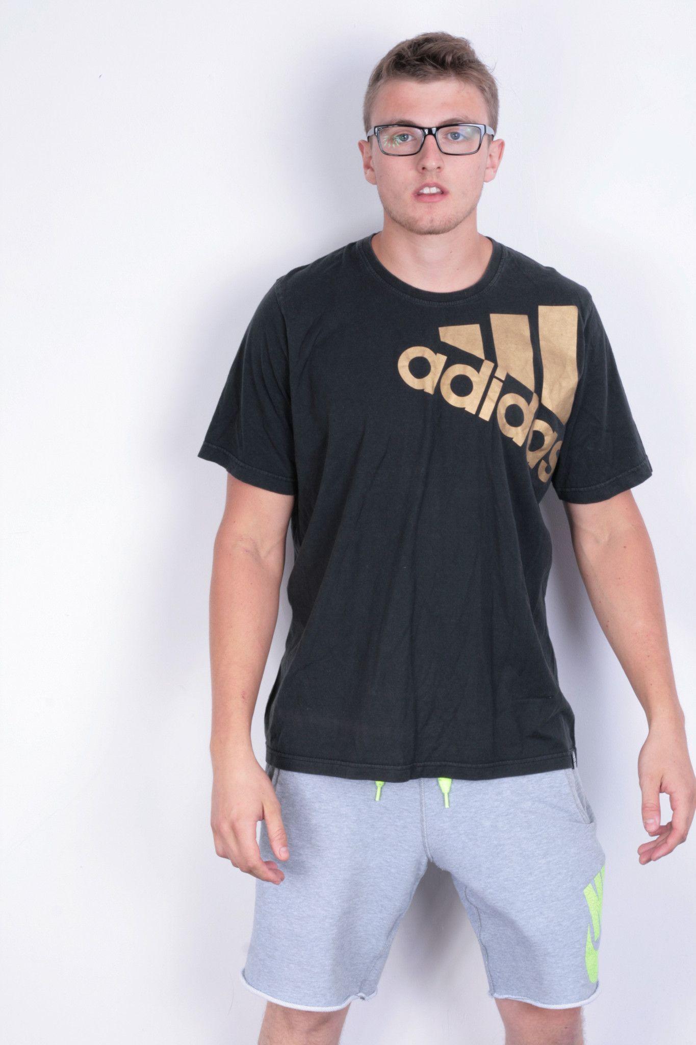 42e46f1fe493d Adidas Mens XL T- Shirt Black Cotton Short Sleeve Sport Jersey Trikot