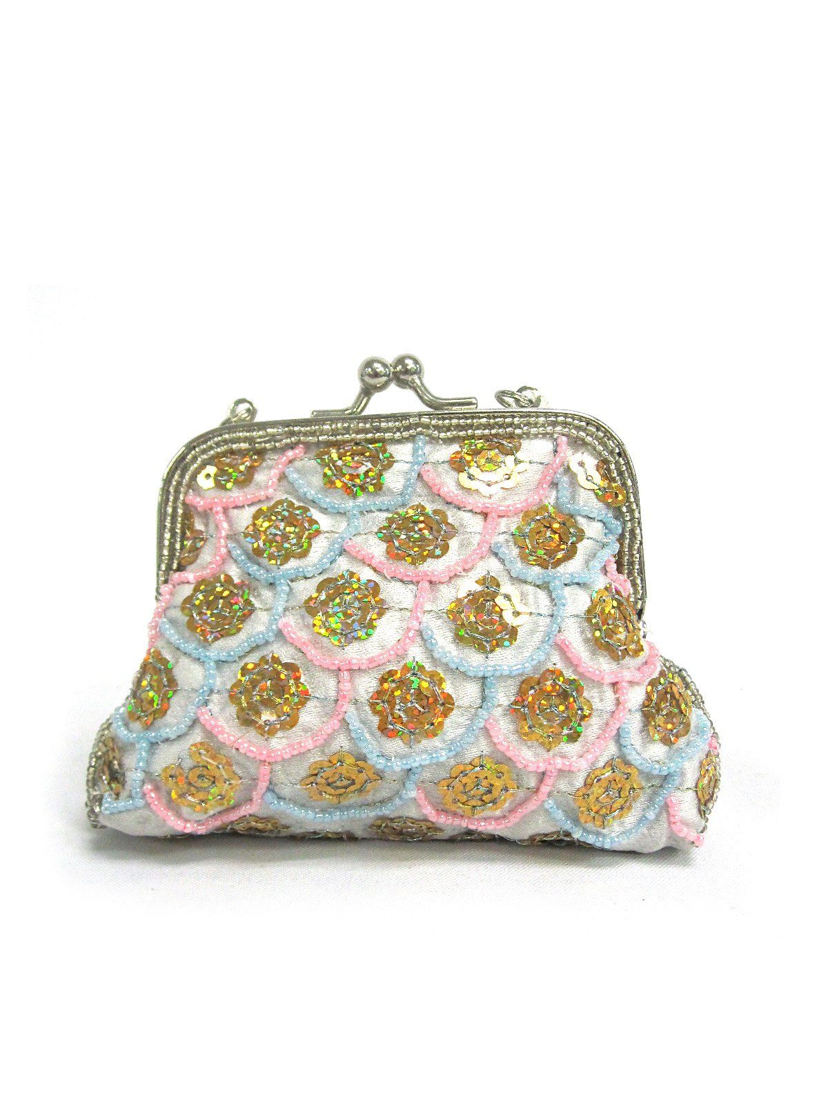 "Fashion Fish Scale Sequin Stitched Framed Small Coin Purse Cosmetic Makeup Pouch Wallet (Light Blue). Measures Approx: 5"" x 1"" x 4"". Assorted Dozen. Kiss Lock Closure. All Over Beading Embroidery. Fits Perfectly in Purse."