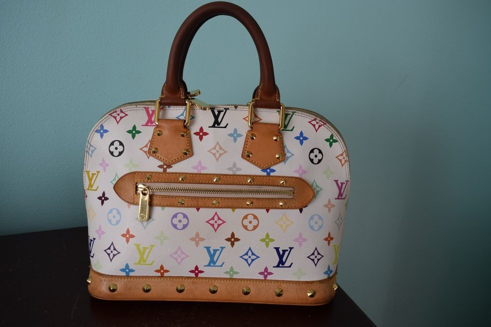 4e644afe43973 Authentic Louis Vuitton White Multicolor Monogram Alma Satchel Bag FL0063   purses  fashion