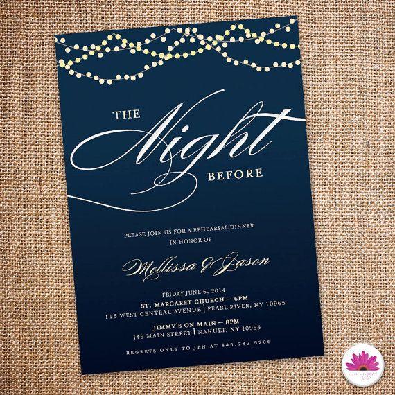 Starry Night - Rehearsal Dinner Invitation 5 X 7 (Digital file)