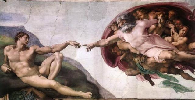 God creates Adam. Michelangelo, the SistineChapel