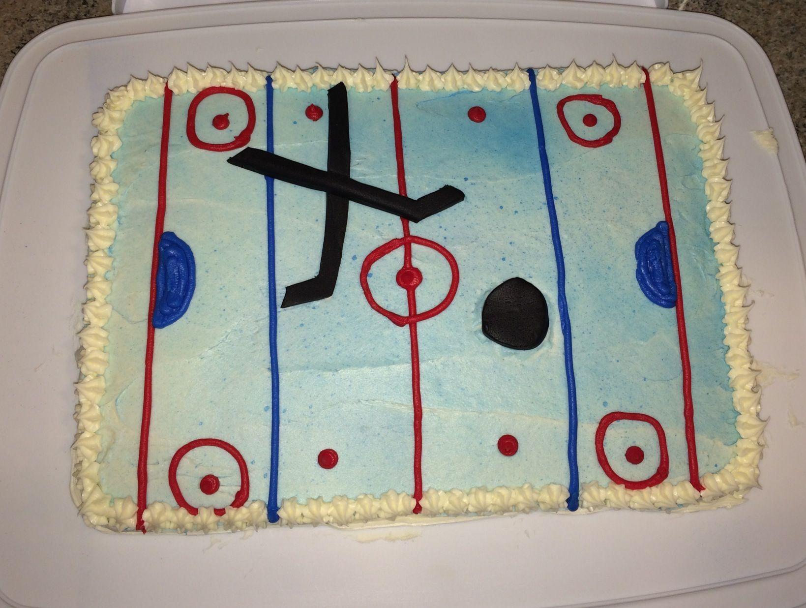 Easy Hockey Fan Cake Puck And Sticks Made Of Fondant Hockey Cakes Cake Decorating Cake