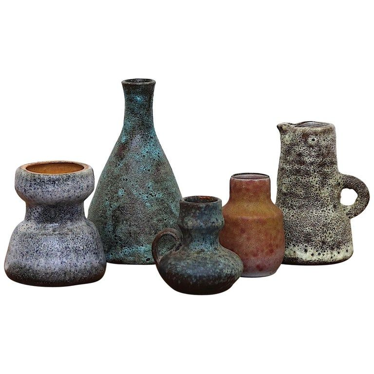 Set Of 5 Small Dutch Ceramic Vases Ceramics Vases For Sale Modern Ceramics