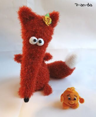 "Amigurumi crochet FOX with a ""колобок"""
