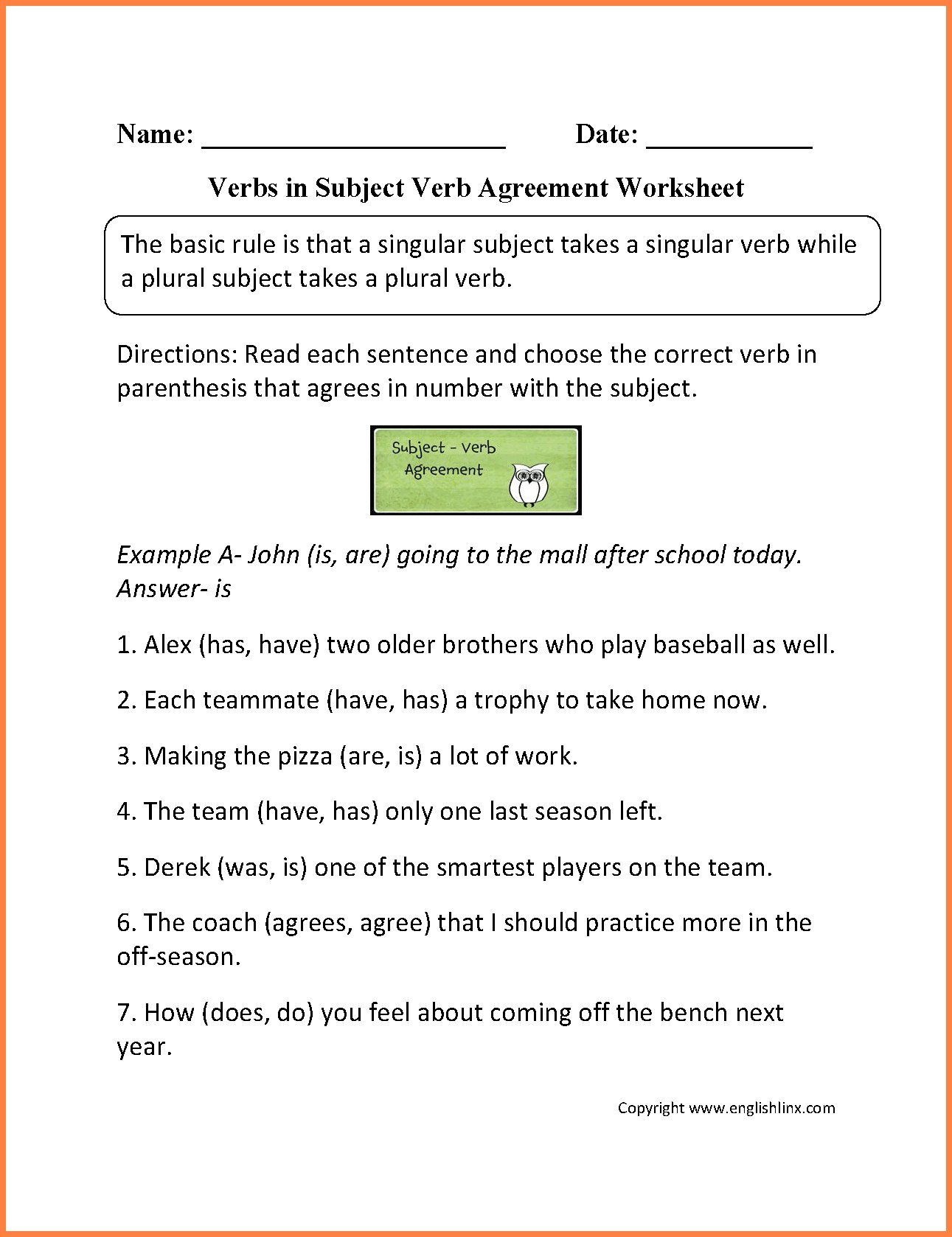 Grammar Worksheet 4th Grade 4th Grade Verbs Worksheet In