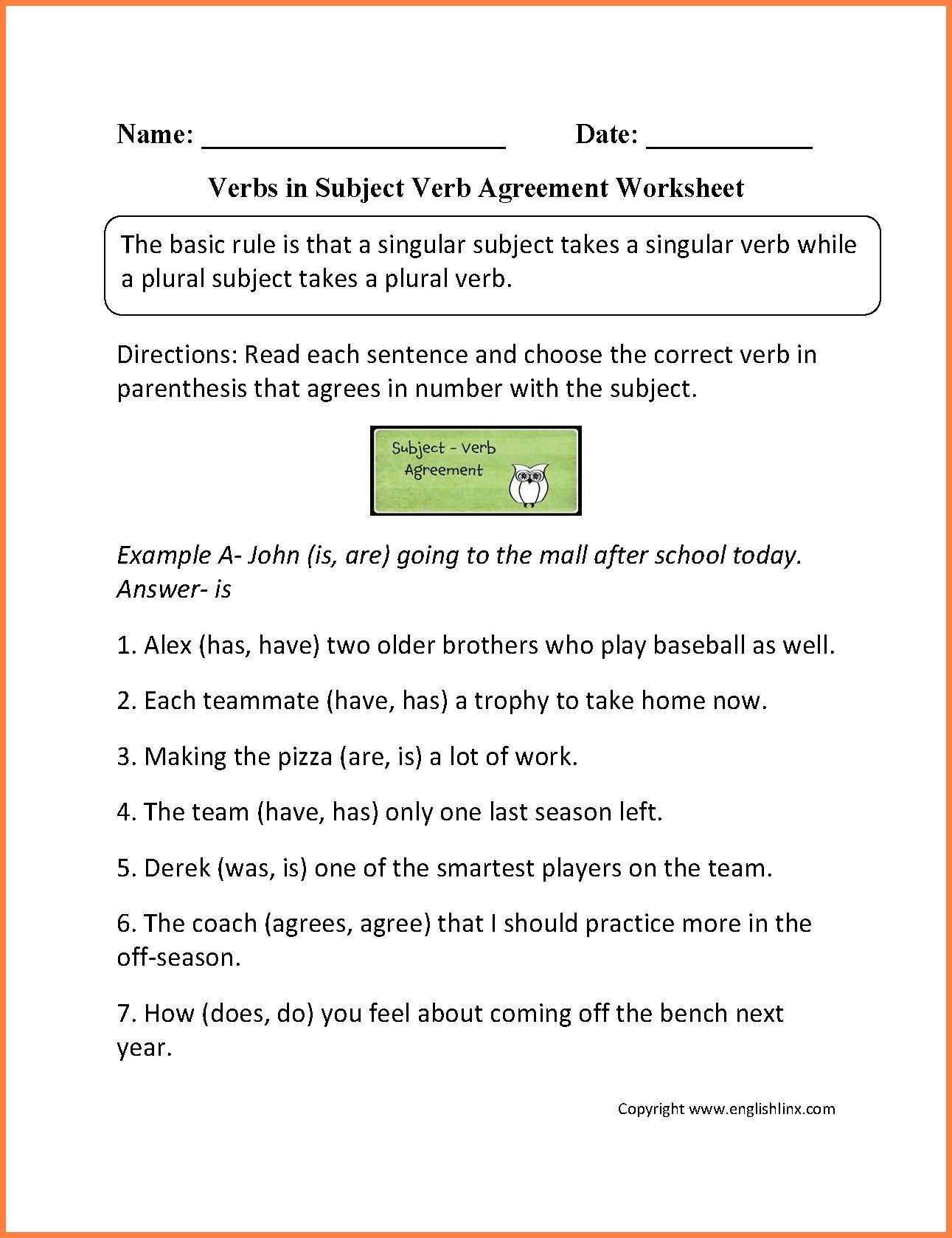 Grammar Worksheet 4th Grade 4th Grade Verbs Worksheet In