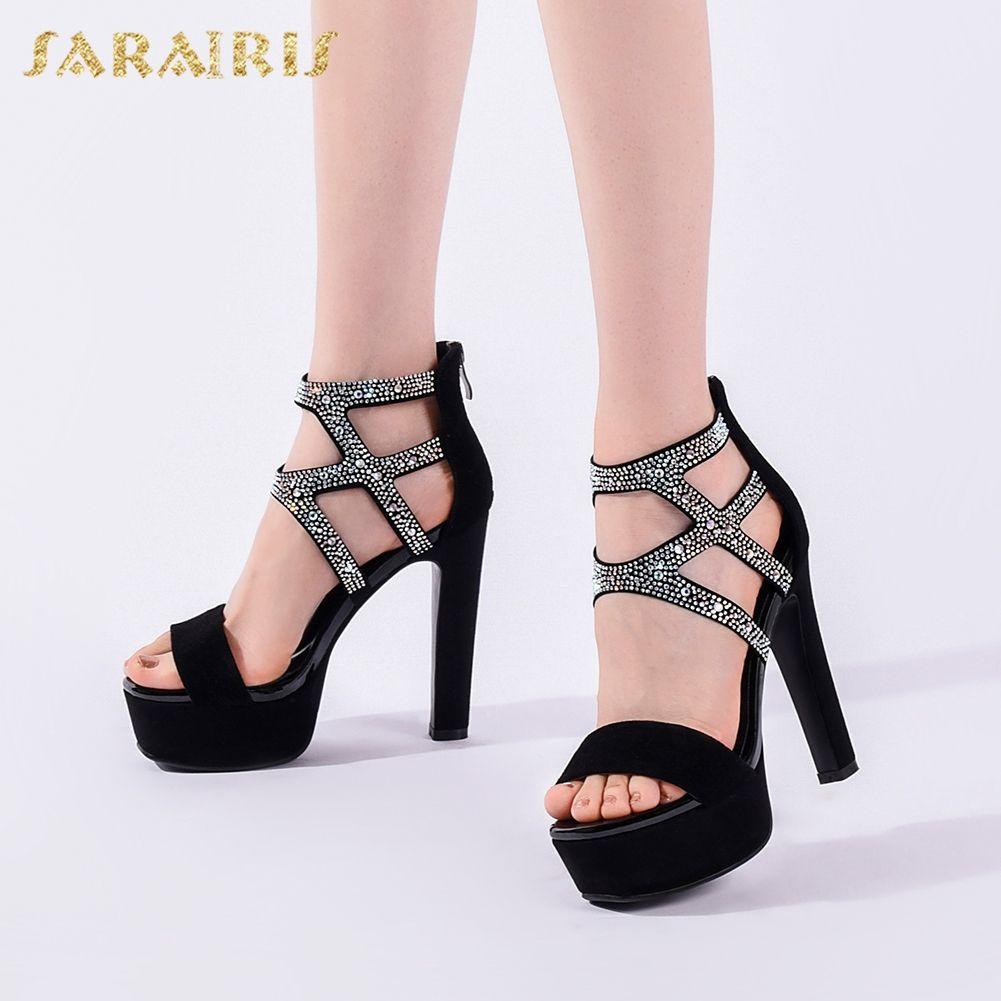 Sarairis New Arrivals 2020 Kid Suede Platform Summer Sandals Woman Shoes Peep Toe High Heels Crystal