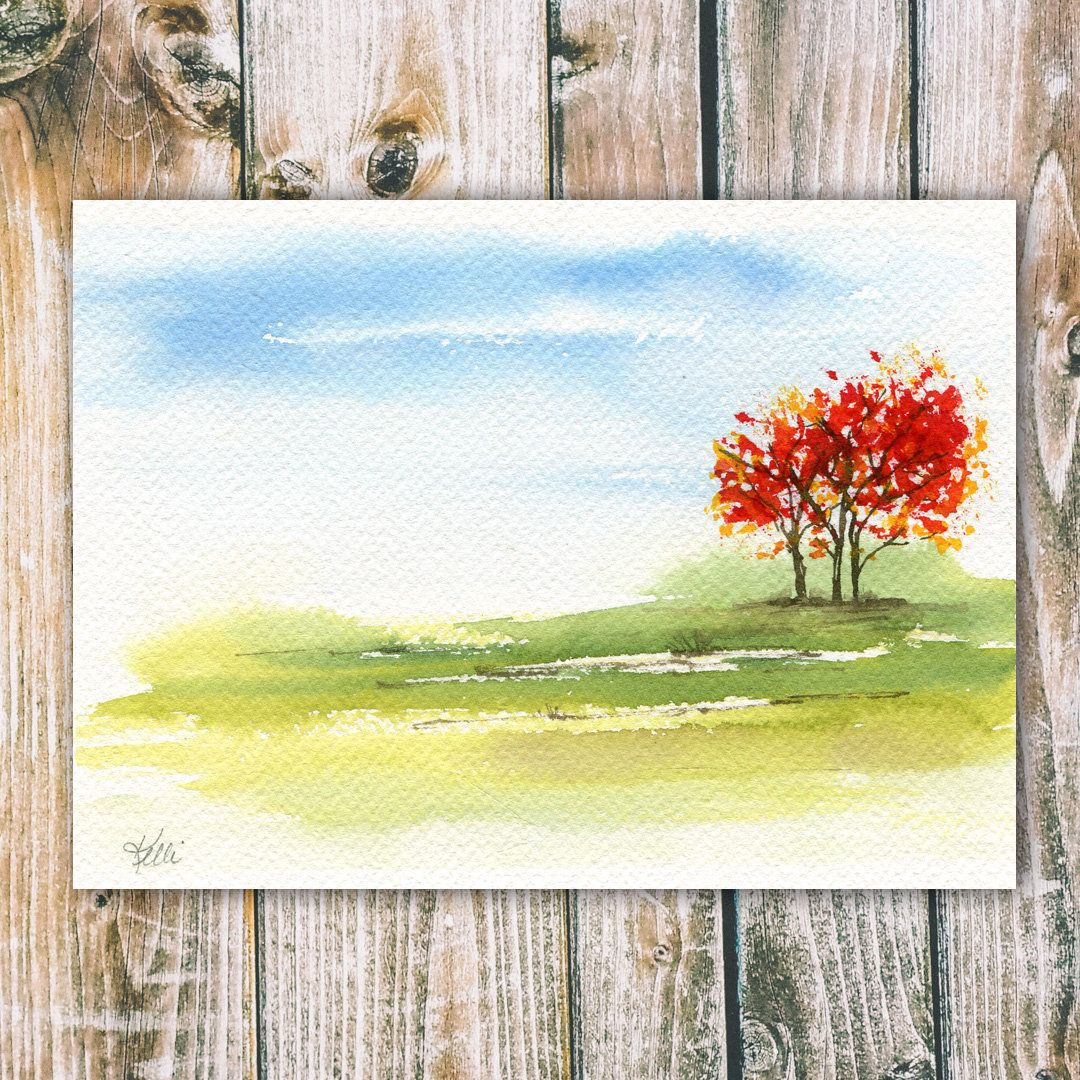 Colorful Trees Original Watercolor Landscape Painting Etsy In 2020 Watercolor Landscape Paintings Watercolor Paintings For Beginners Watercolor Paintings Easy