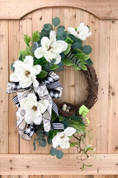 Photo of Spring summer wreath for front door, magnolia wreath, farmhouse decor