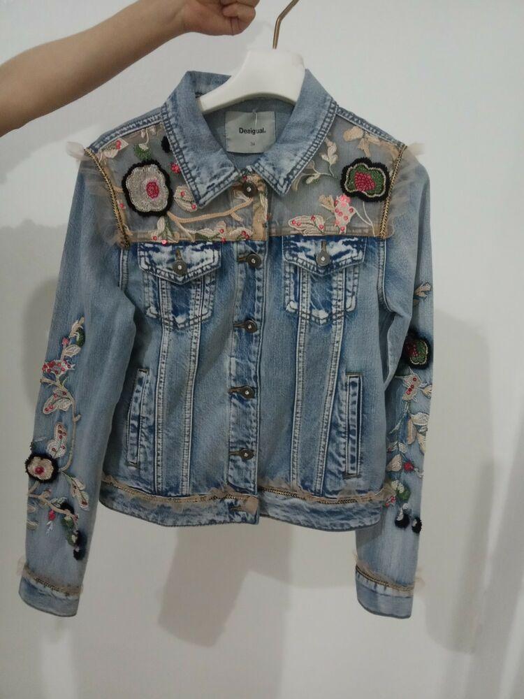 Fllay Womens Washed Boyfriend Embroidery Long Sleeve Loose Jean Demin Jackets
