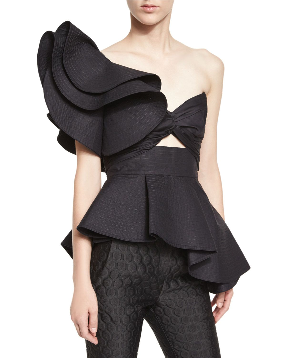 33364326c3361f Maria de Medici Large-Ruffle One-Shoulder Bandeau Top, Black - Johanna Ortiz