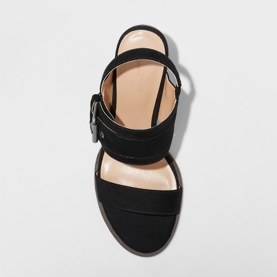 c8c84b5d42c Women s Matti Heeled Buckle Wide Width Quarter Strap Sandals - Universal  Thread Black ...