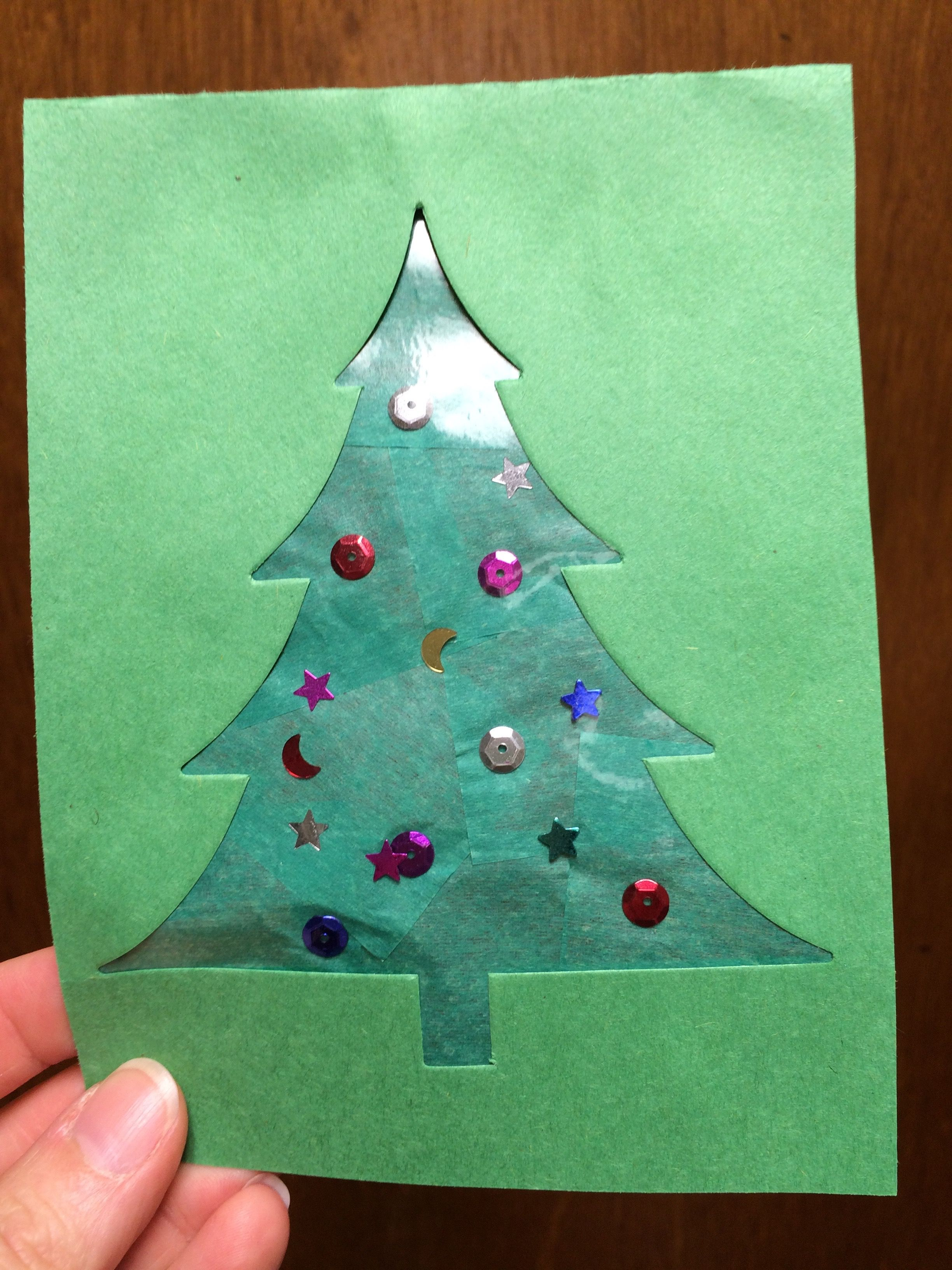 Stain Glass Christmas: Cut a Tree out of the middle of green ...