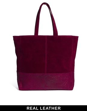 Image 1 ofASOS Leather Tote Bag With Embossed Snake Panel £40
