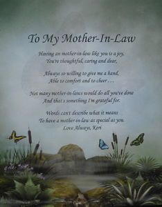 To my mother-in-law personalized poem birthday or ...
