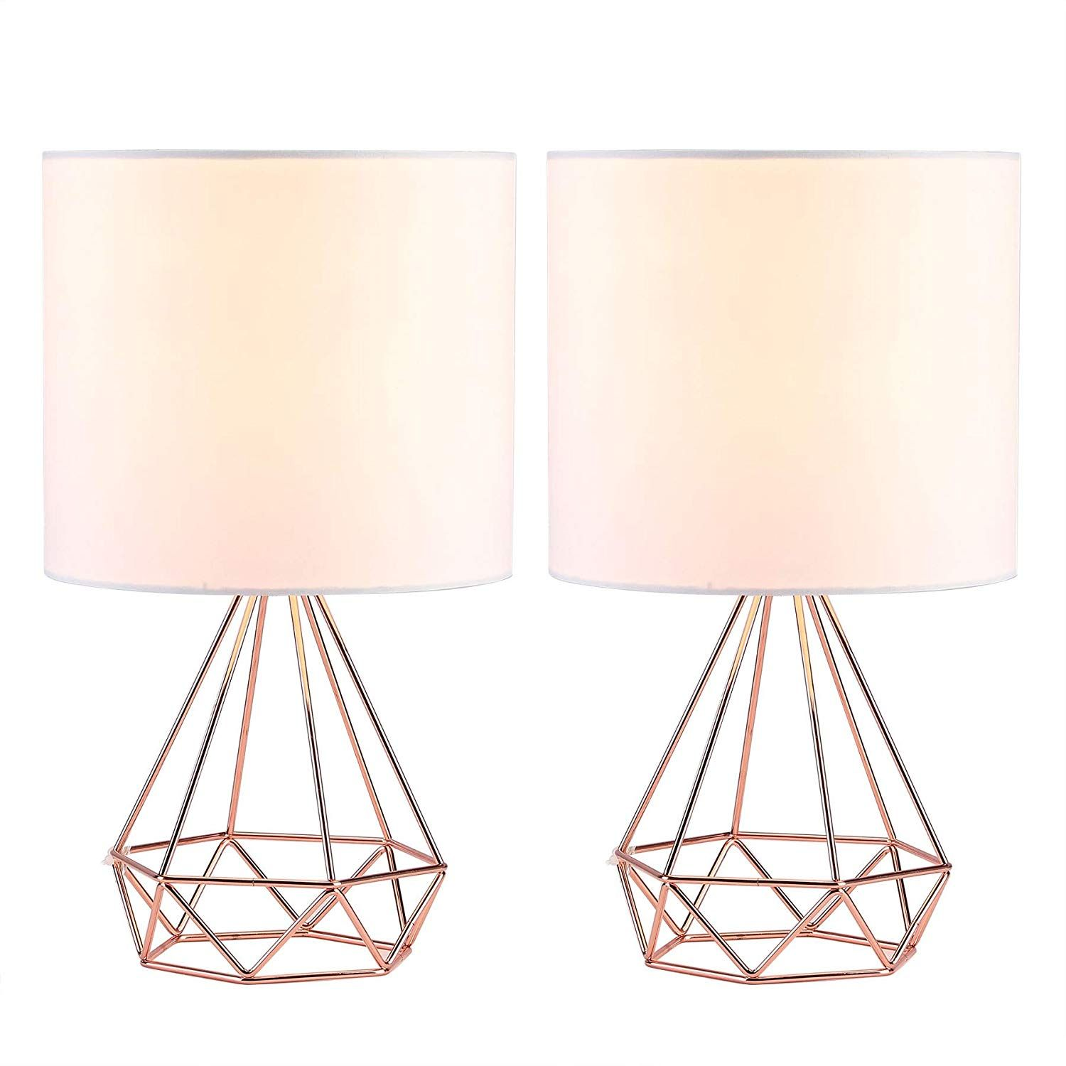Co Z Modern Table Lamps For Living Room Bedroom Set Of 2 Rose Gold Desk Lamp With Hollowed Out Base And White Fabric Sha Modern Table Lamp Rose Gold Lamp Lamp