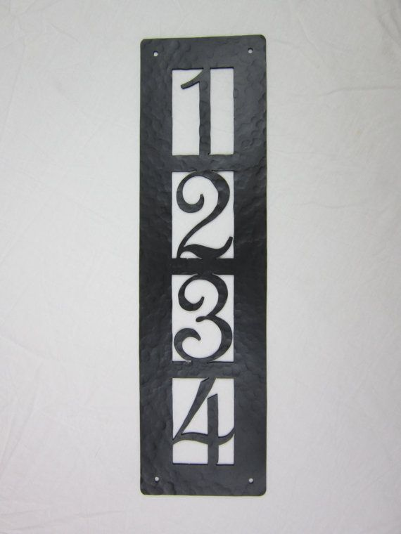 Apv24 Rustic Hammered Wrought Iron Address Plaque 4 Number Plain Vertical Series Custom