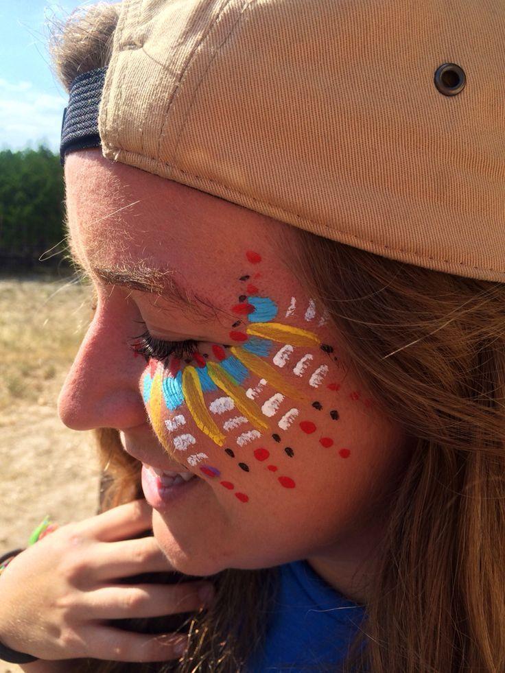 Tribal #face #paint #music #festival #makeup #Aztec #design, #aztec #BodyPaintinggalaxy #Body...