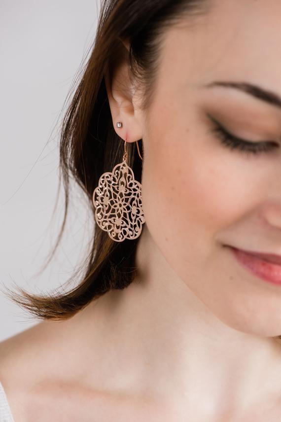 0ef6a03544a0 Rose Gold Earrings Big Lace Filigree Modern Large Dangle Pink Gold Spanish  Style Boho Bridal Jewelry