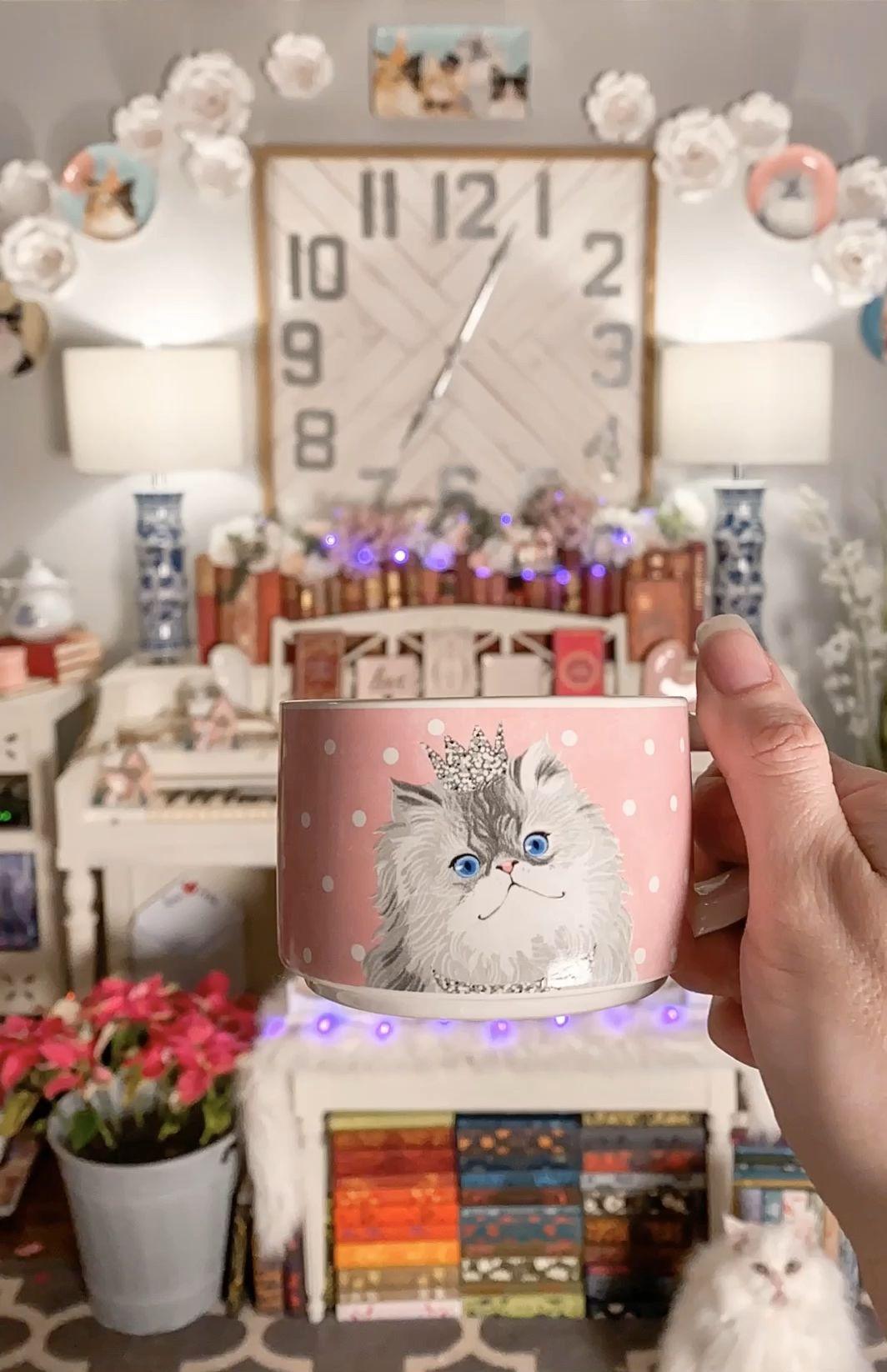 Cat coffee mugs in pink blue and yellow in front of piano living room scene | #coffee #coffeetime #coffeelover #coffeeshop #coffeestation #caffeine #caffeineaddict #cats #catsofinstagram #catsagram #catlovers #catholic #catsandkittens #mug #muglife #pier1love #pier1 #shabbychic #shabbychicdecor #shabbychicfurniture #shabbychicstyledecor