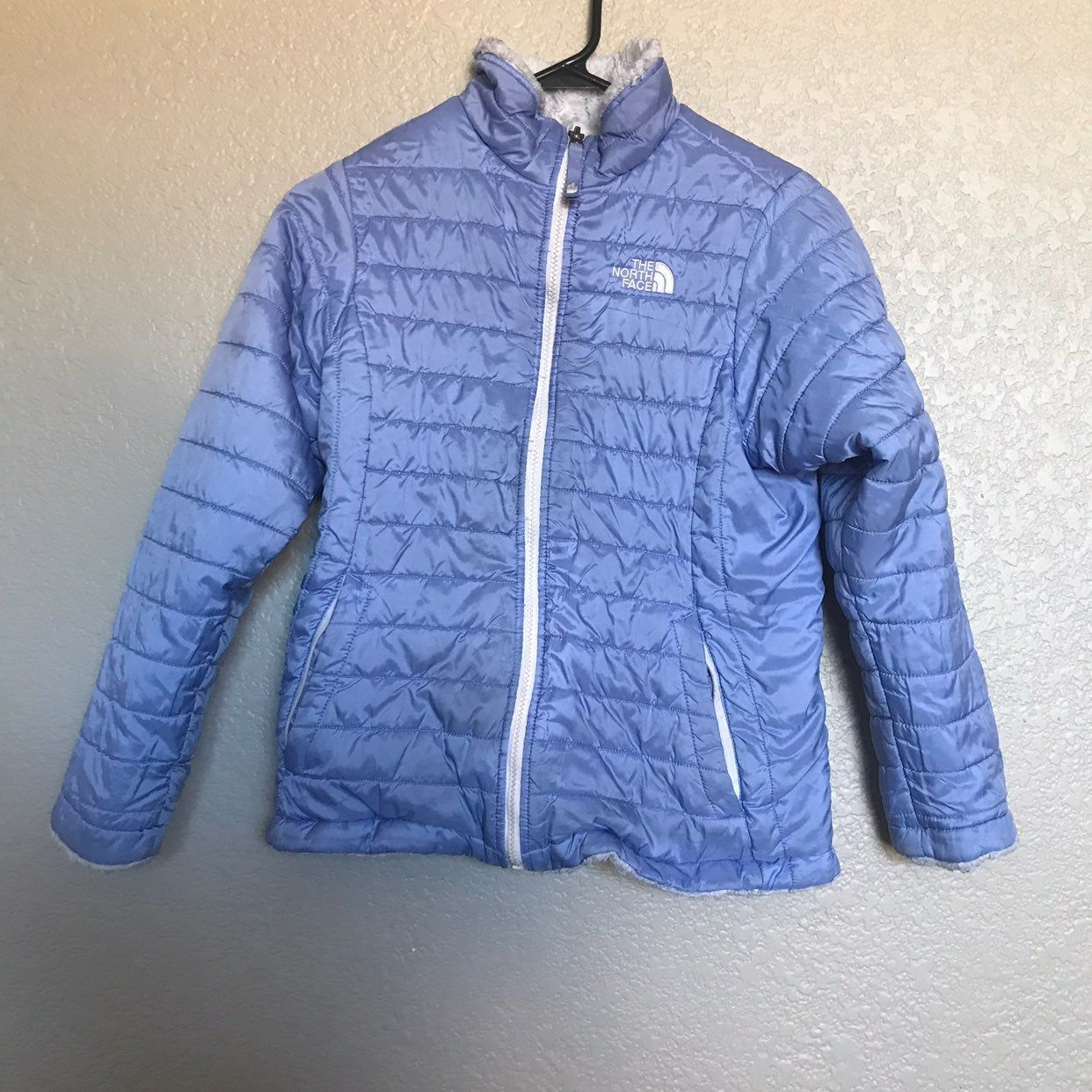 The North Face Girls Reversible Periwinkle And Off White Grey Jacket Hole In Sleeve Pictured And Some Discoloring Pict North Face Girls North Face Coat Jackets [ 1242 x 1242 Pixel ]