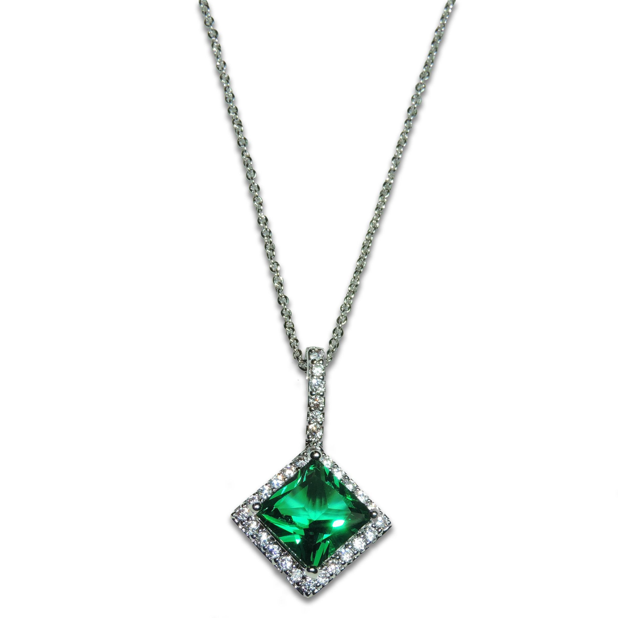 halo custom b sapphire pave cut pendant diamond stone emerald