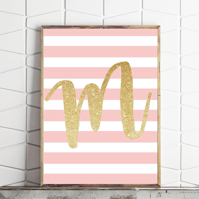 Gold Kids Room Decor, Monogram Print, Gold And Pink Decor,