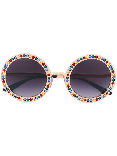 a154c950d3f38 Crystal-Embellished Round-Frame Gold-Tone Sunglasses