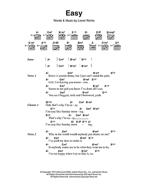 Commodores Easy Sheet Music Notes Chords Score Download Printable Pdf Guitar Chords And Lyrics Lyrics And Chords Easy Guitar