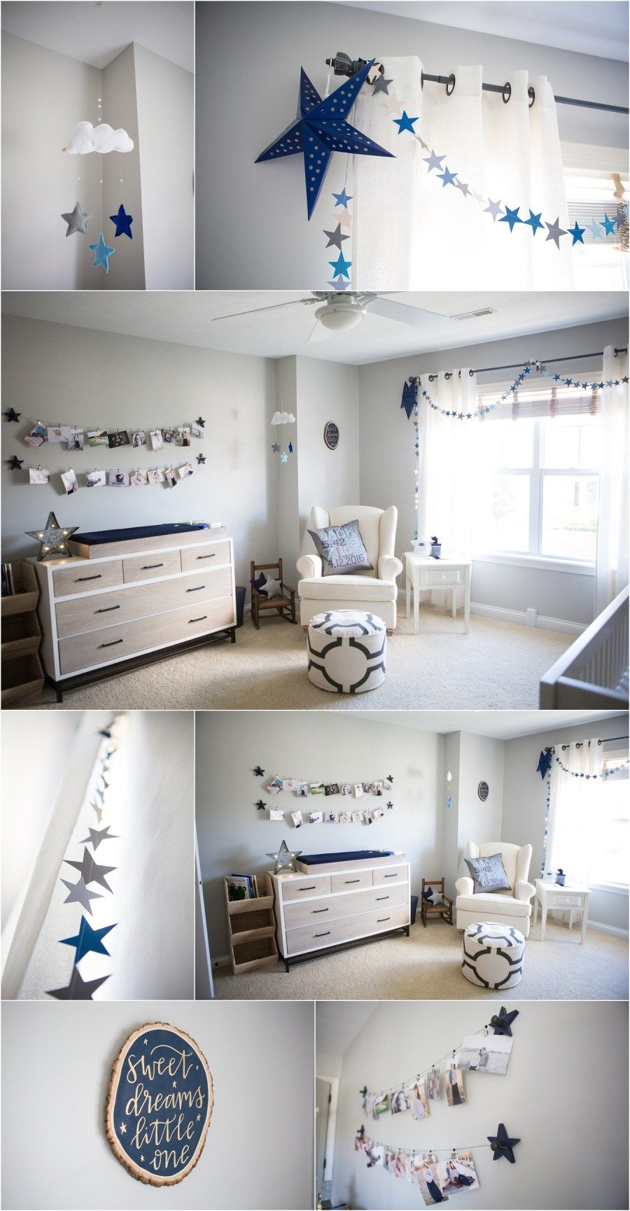 Repose Gray By Sherwin Williams Painted Nursery Perfect Paint Color Star And Moon Themed The Navy Blue Accents It Well