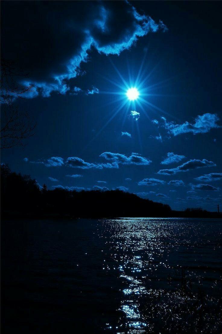 Blue Sky Over Blue Water Wallpaper Beautiful Moon Beautiful Nature Nature