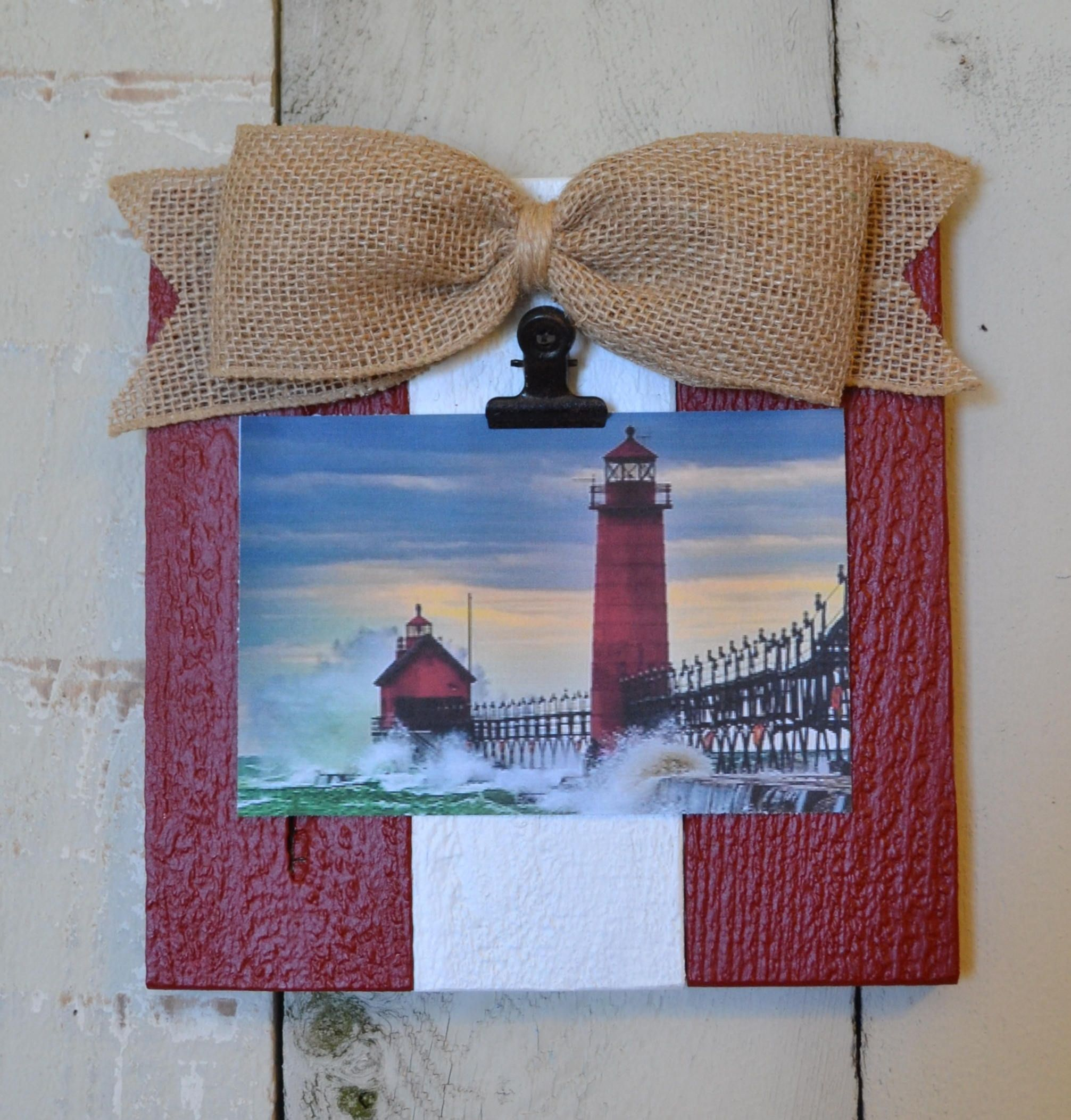 Nautical Rustic Wood Clip Photo Frame, Photo Clip Board, Photo