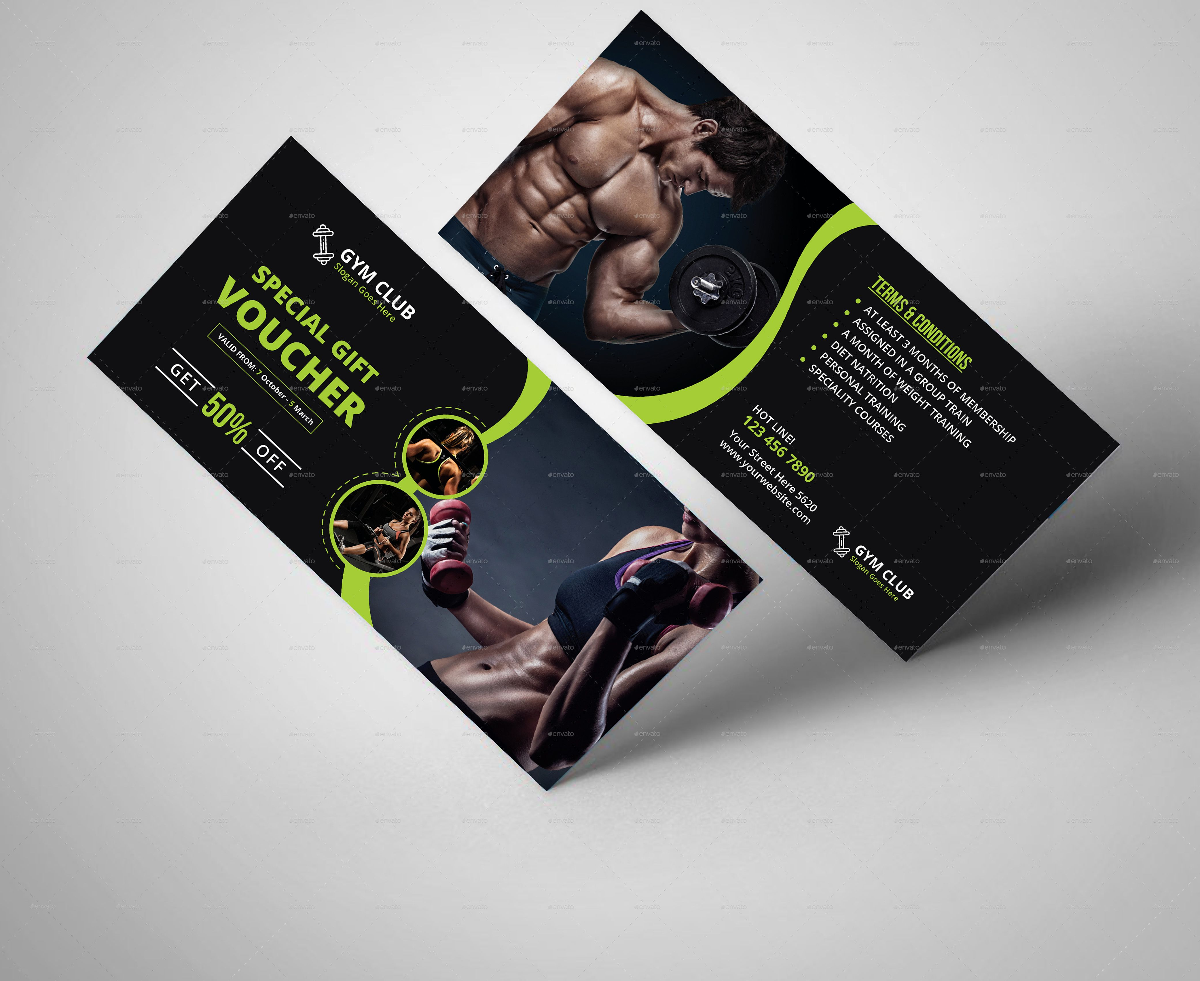 Fitness gym gift voucher template gym fitness gift template