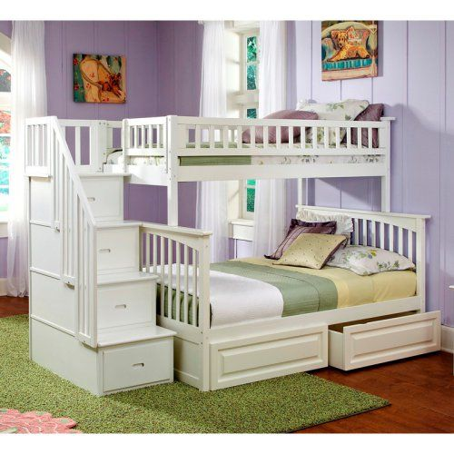 Atlantic Furniture Columbia Twin Over Full Stairway Bunk Bed Bunk
